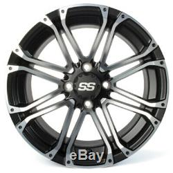 Set of 4 Golf Cart SS Voyager 14 inch Machined & Black Wheel With 34 Offset