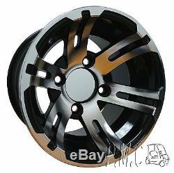 Set of 4 Golf Cart Wheels, 22x11x10 DOT A/T Tires, 10 Bulldog Machined Black