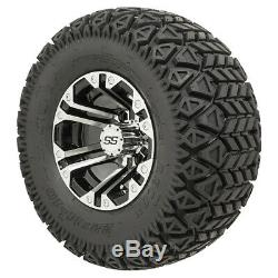 Set of 4 Golf Carts 10 inch GTW Specter Wheels on All Terrain Tires Lift Needed