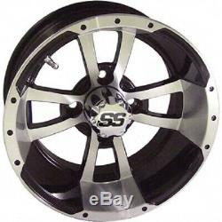 Set of 4 Storm Trooper 12 inch Machined/Matte Black Golf Cart Wheels 34