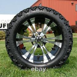 Set of 4 Vampire Black/Machined 14 SS Wheels and 23 Off-Road Tires