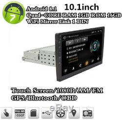 Single 1Din Android 8.1 10.1 1080P Car Stereo Radio GPS Wifi QUAD-Core OBD A2DP