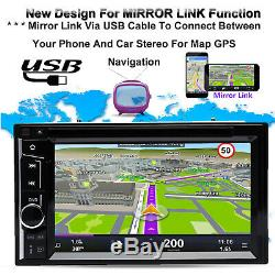 Touch Screen Car Stereo Radio 2DIN DVD FM AM Player Mirror For GPS + Back Camera